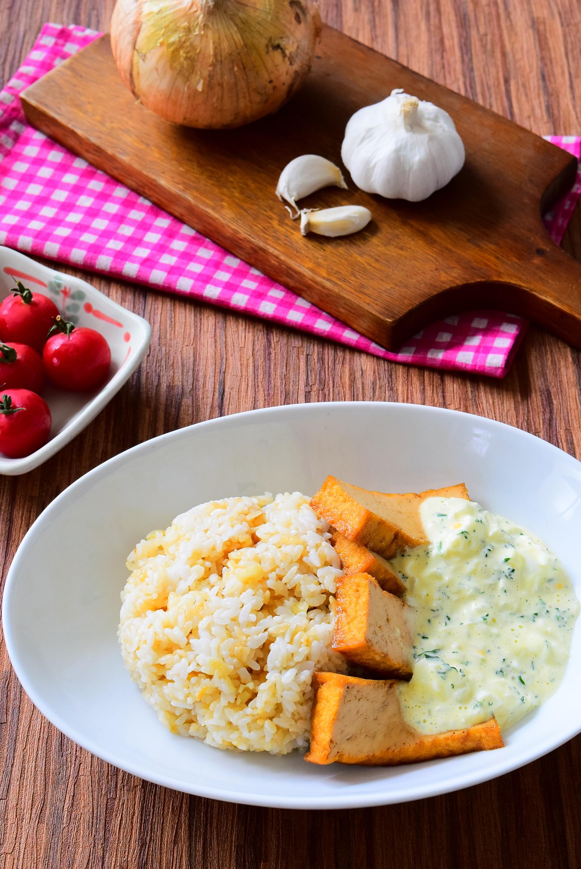 ガーリックライスの厚揚げのチキン南蛮風添えのレシピ