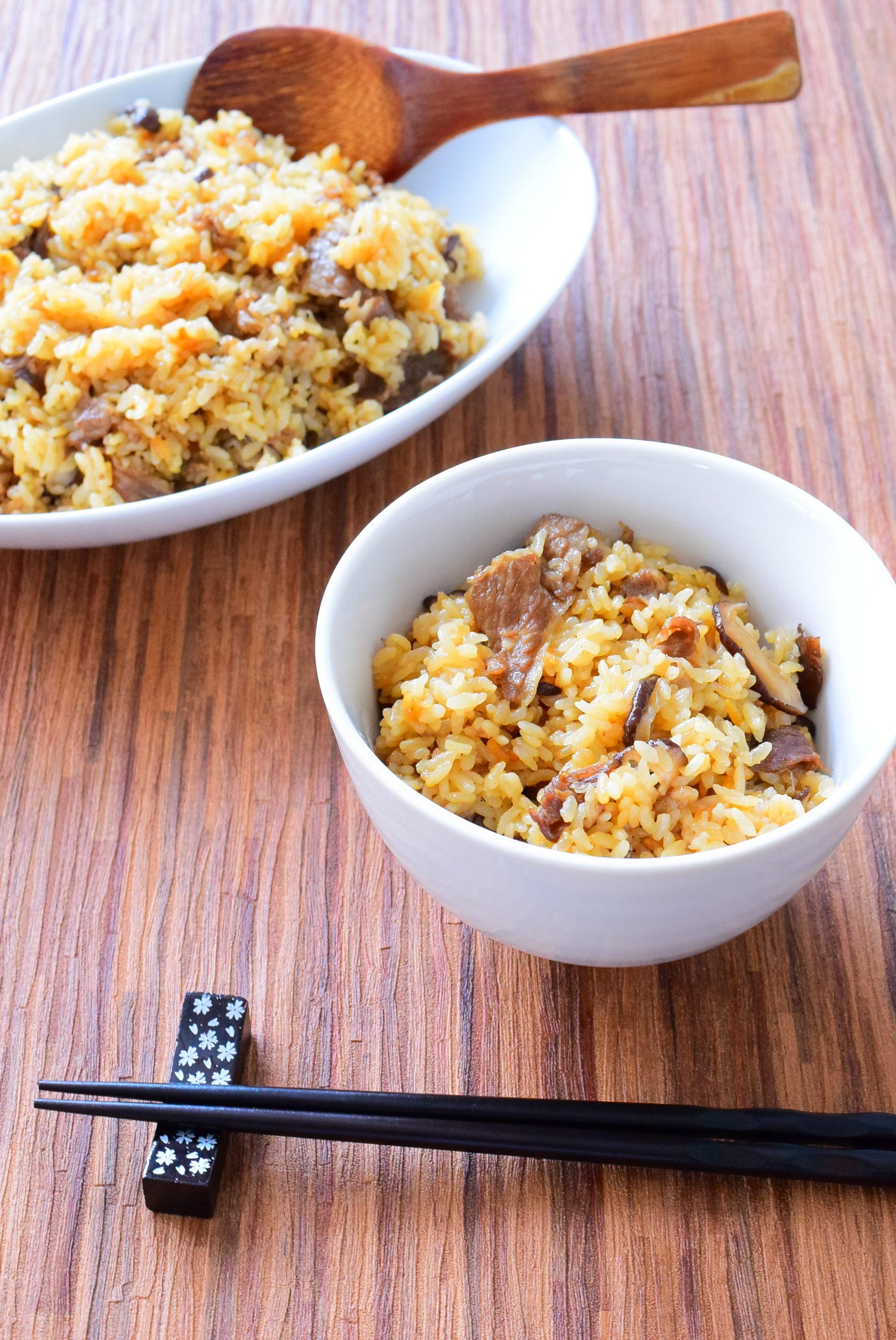 牛肉の炊き込みご飯のレシピ