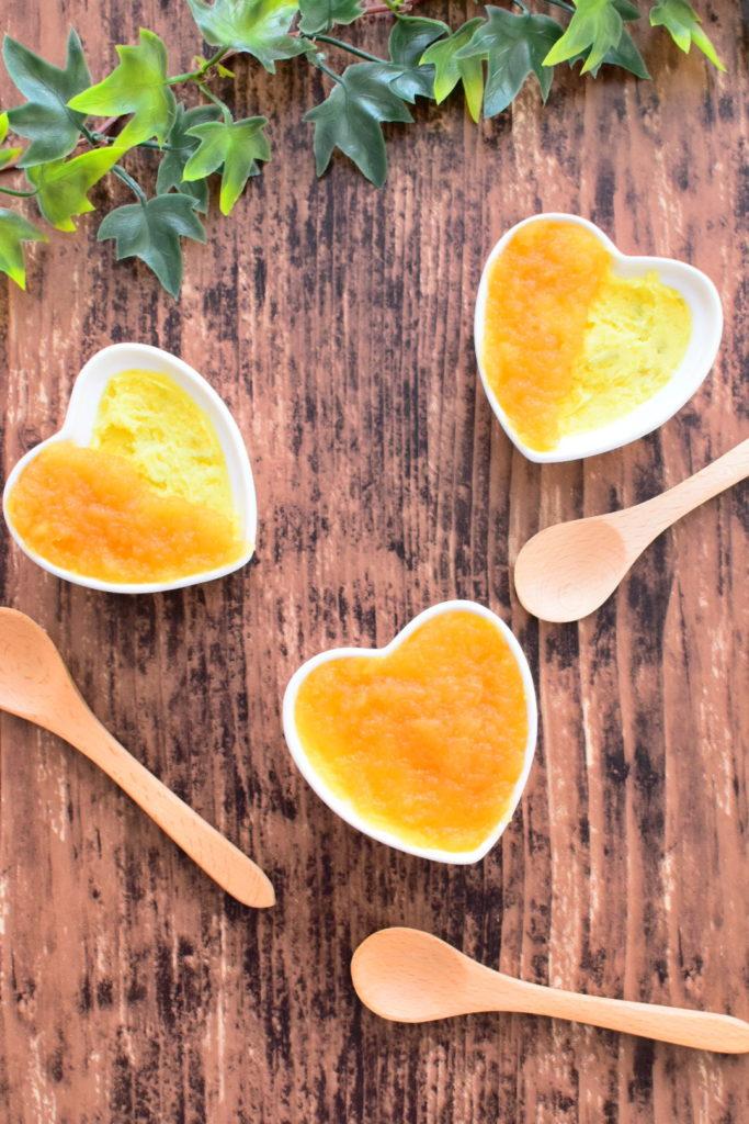 砂糖不使用!スイートポテトのすりりんごのはちみつ煮のせのレシピ