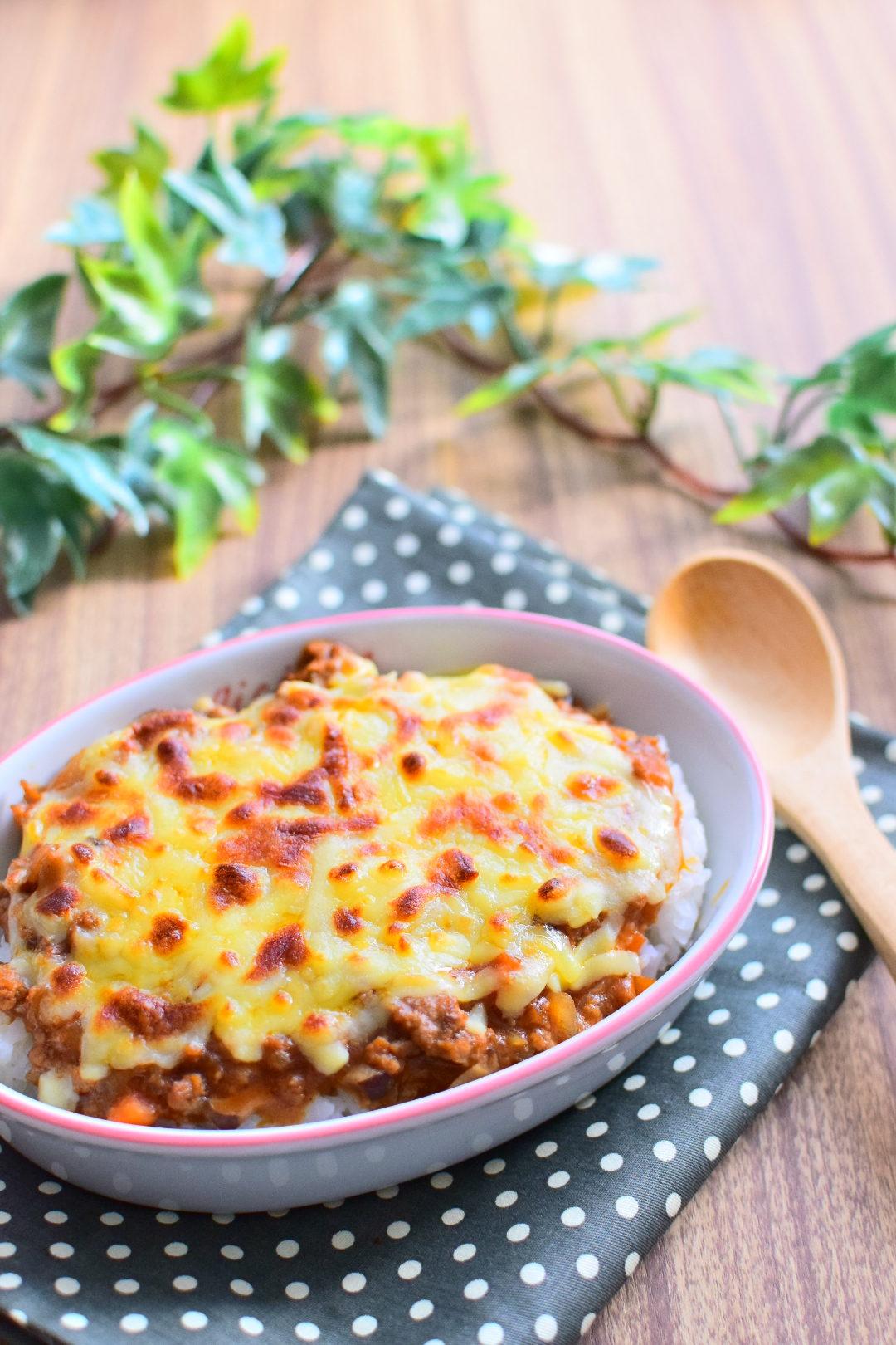 ひき肉と野菜のチーズハヤシドリアのレシピ