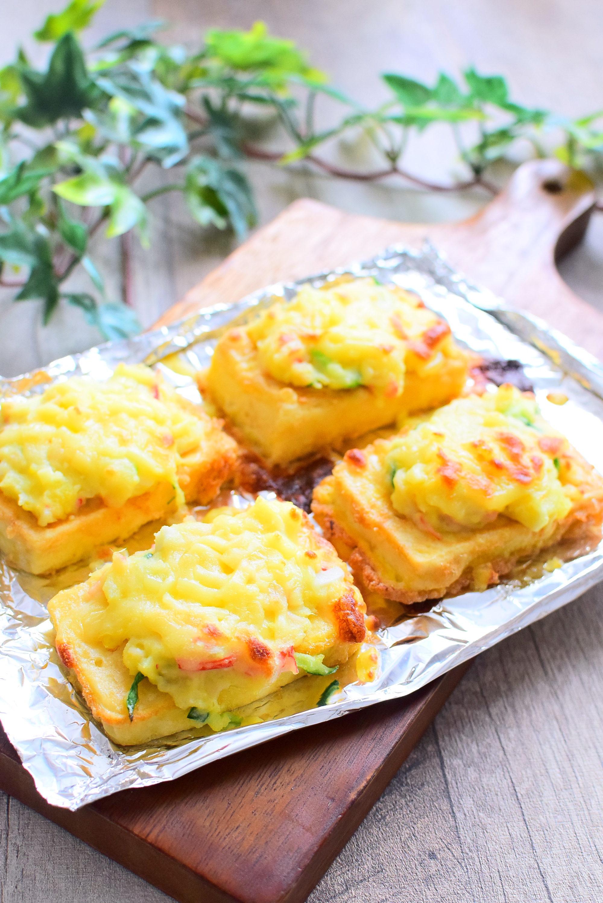 残ったポテトサラダで作る!豆腐のポテトサラダのせチーズ焼きのレシピ