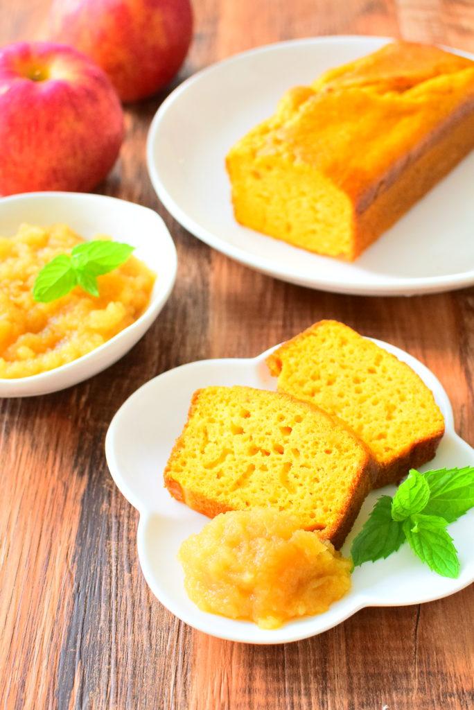 りんごのハチミツ煮を添える、ノンバターにんじんパウンドケーキのレシピ