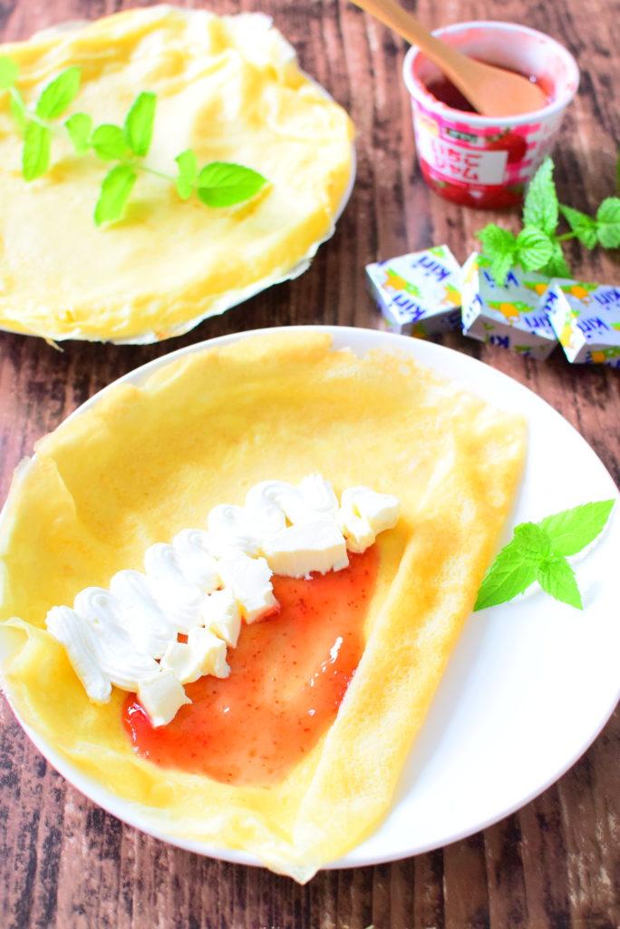 クリームチーズとイチゴジャムのもちもちクレープのレシピ