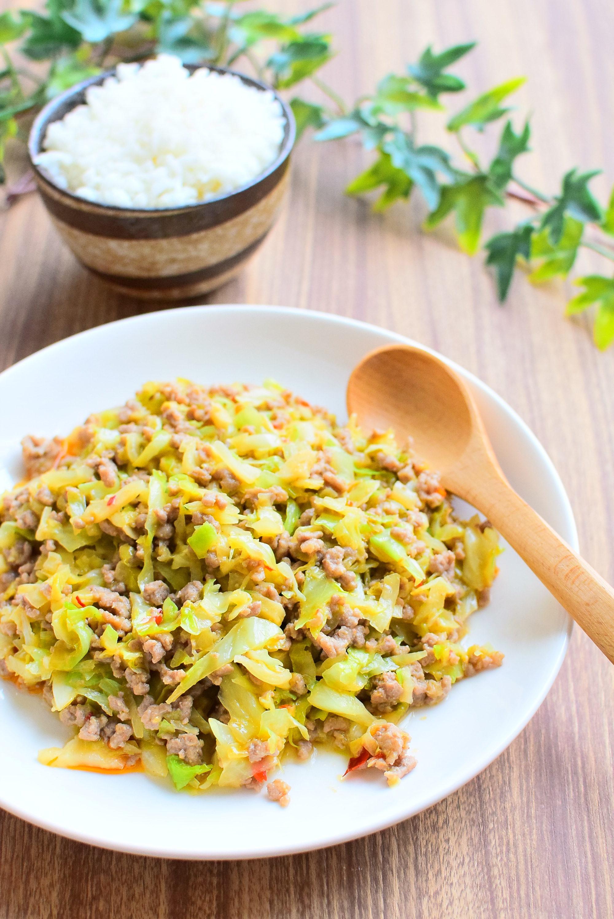 キャベツとひき肉のピリ辛、味噌炒めのレシピ