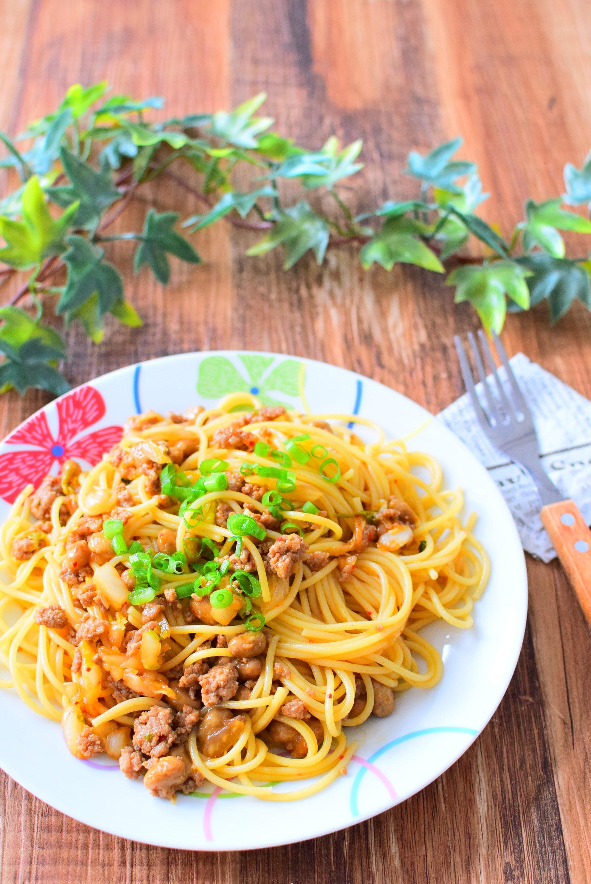 納豆キムチのピリ辛パスタのレシピ