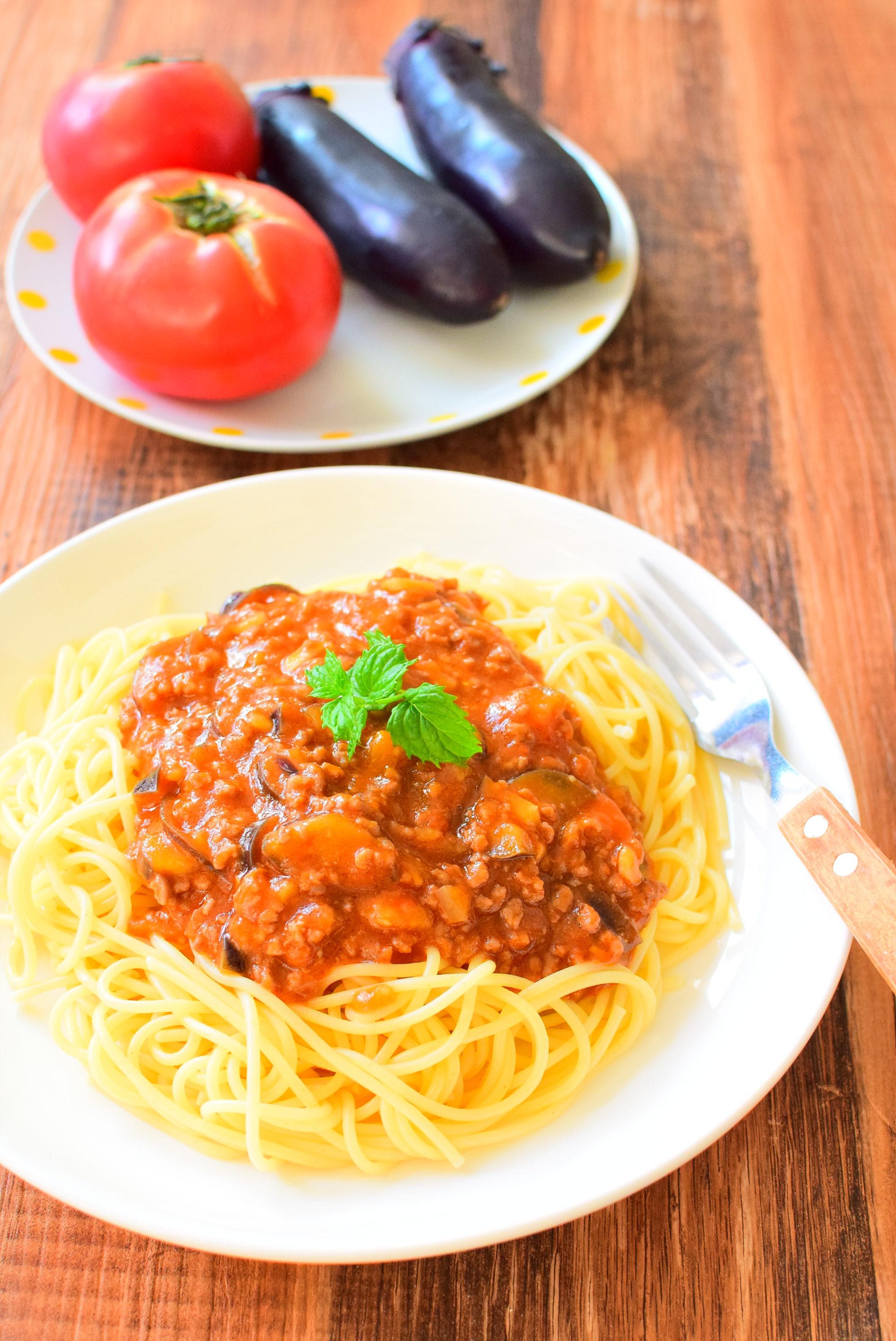 なすのミートソーススパゲッティのレシピ