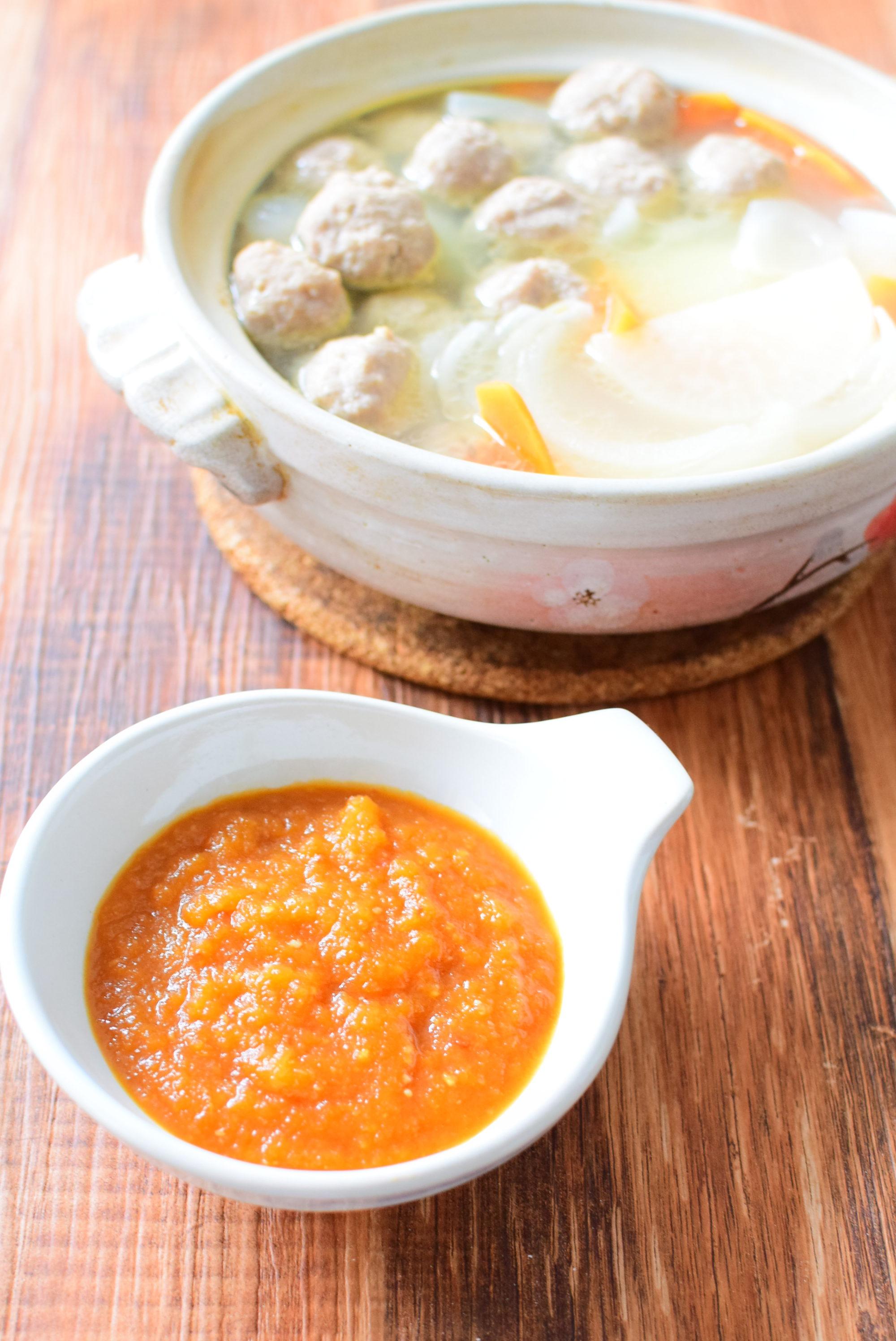 りんご醤油ダレをつけて召し上がれ!肉団子鍋のレシピ