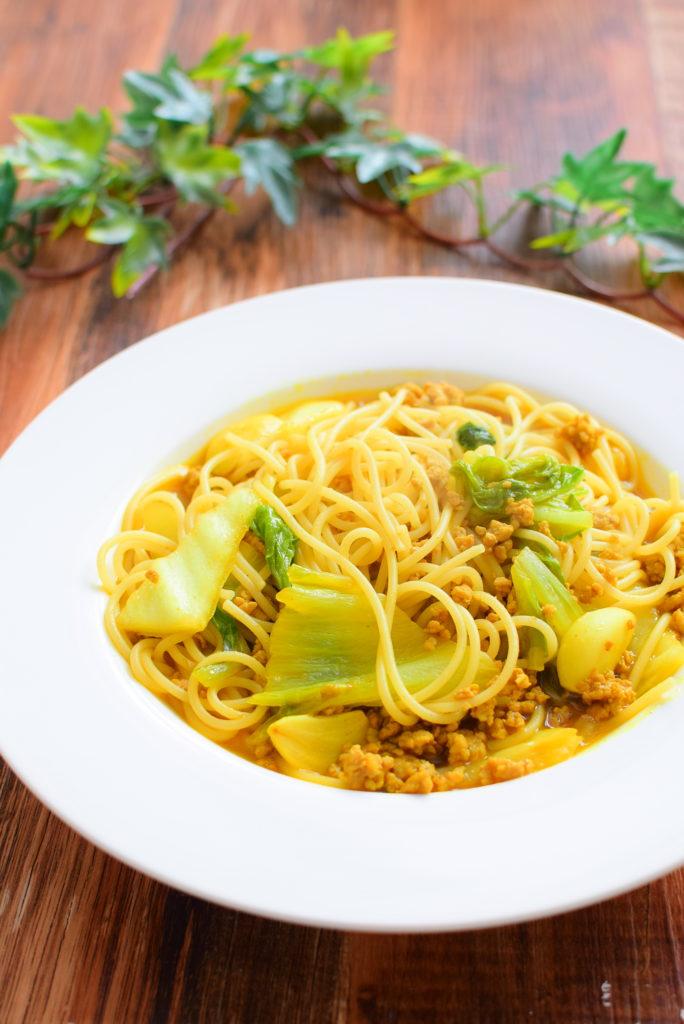 白菜スープカレーパスタのレシピ