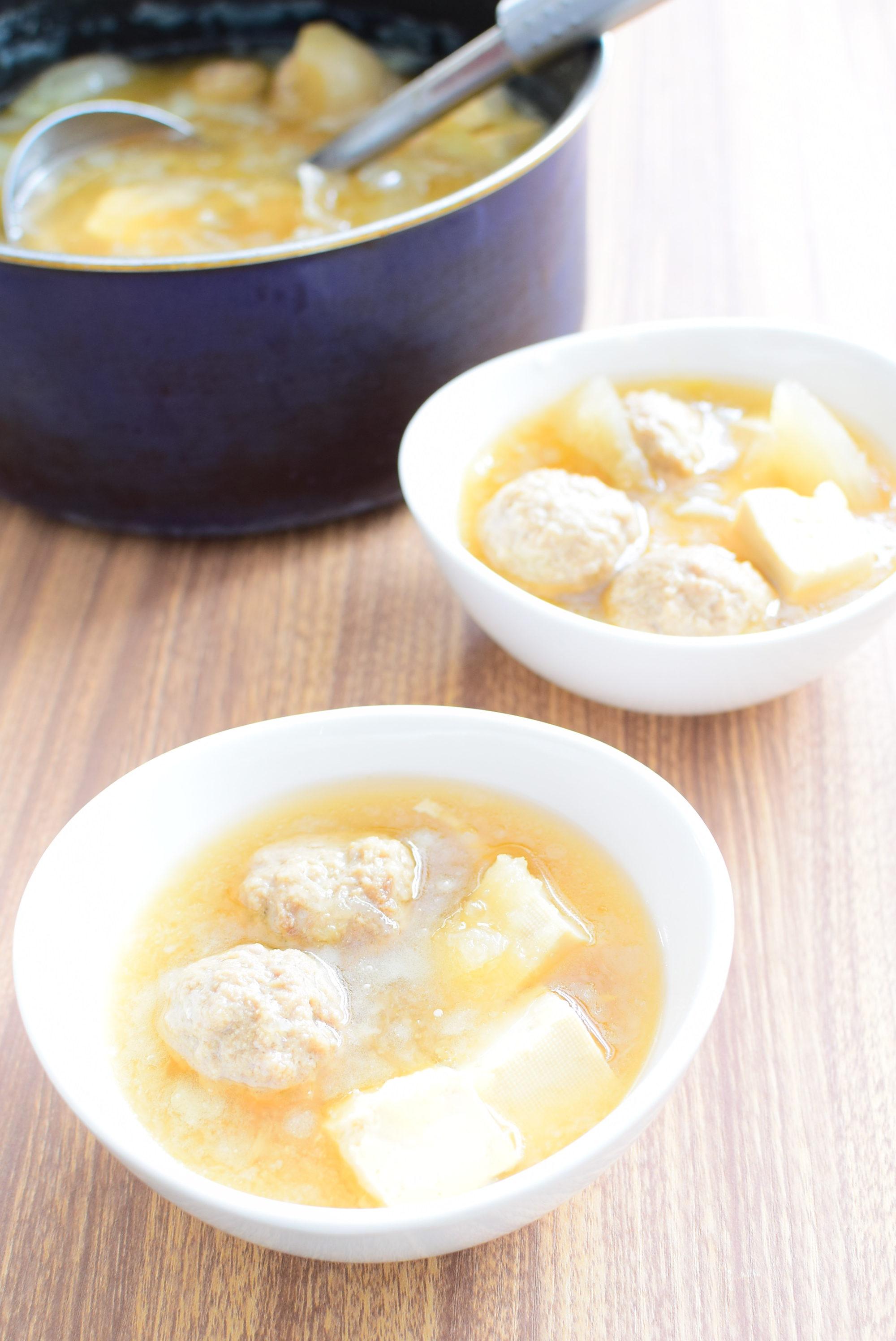 肉団子の大根おろし入りしょうゆスープのレシピ
