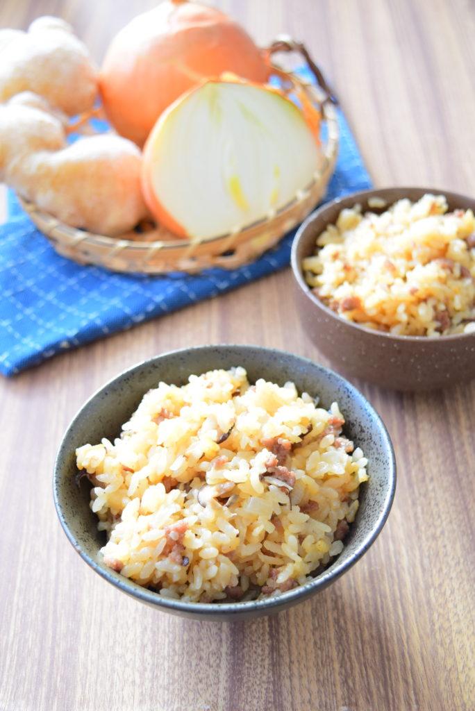 ひき肉の生姜入り炊き込みご飯のレシピ