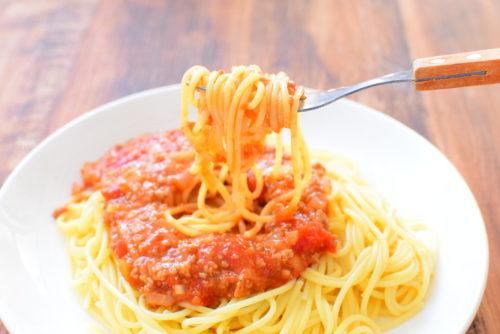 ホールトマトで作る!ミートソーススパゲッティーのレシピの写真