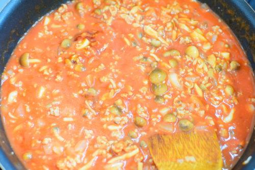 しめじ入り!トマトジュースで作る!ミートソーススパゲッティのレシピの写真