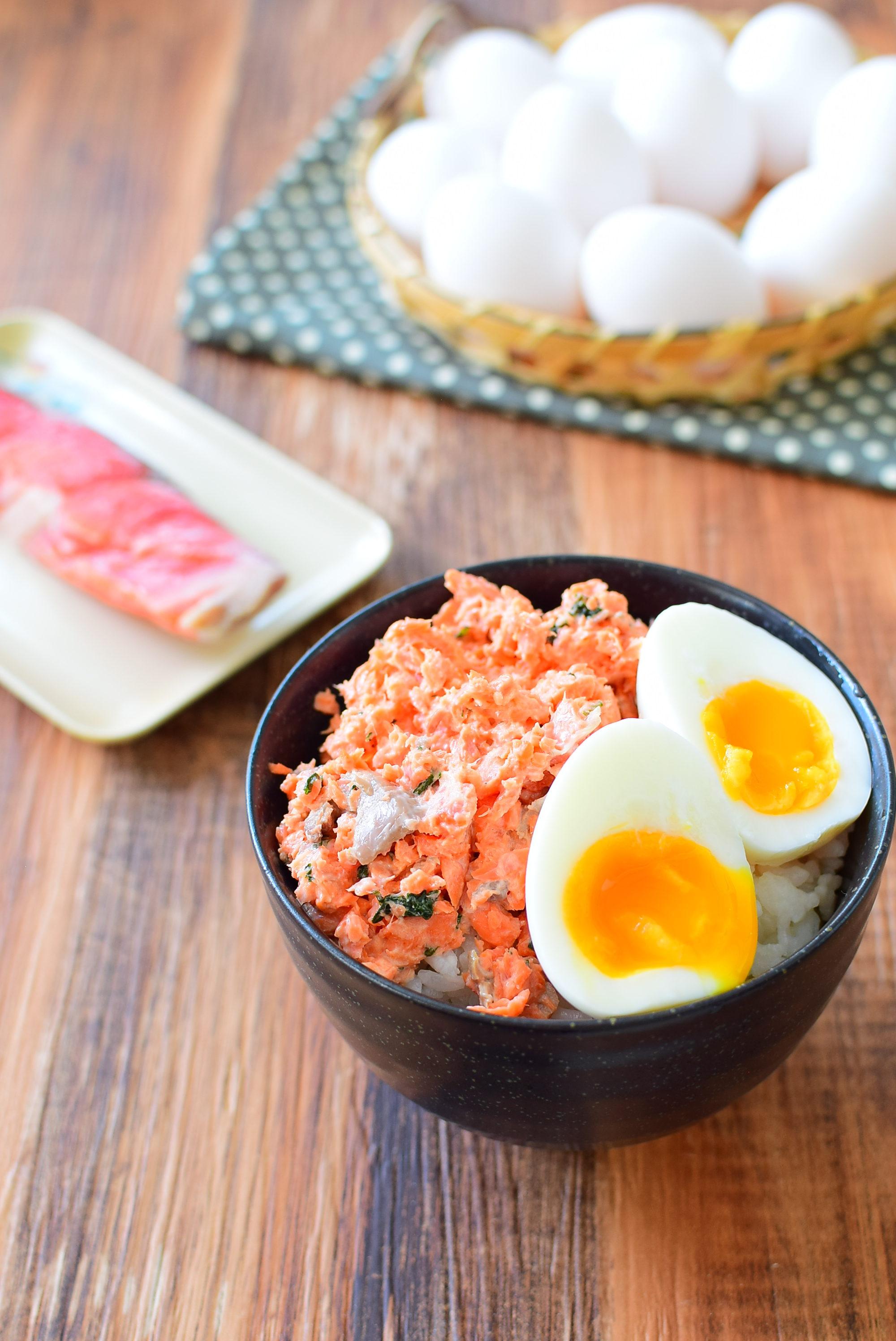 大葉入り鮭マヨ丼、とろとろ茹でたまごのせのレシピ