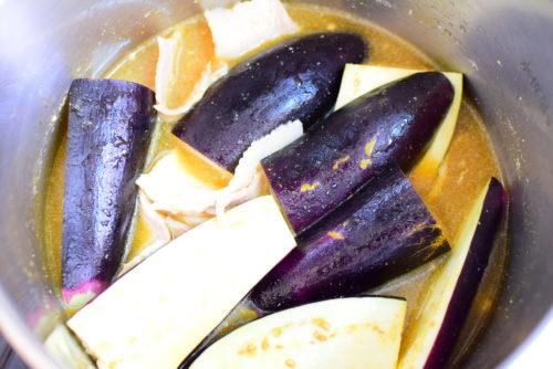 圧力鍋でナスとろとろ!スープカレーパスタのレシピの写真