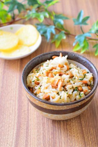 【大葉入り】鮭と納豆の混ぜご飯のレシピの写真