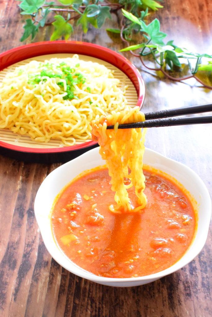 ホールトマト入りカレーつけ麺のレシピ