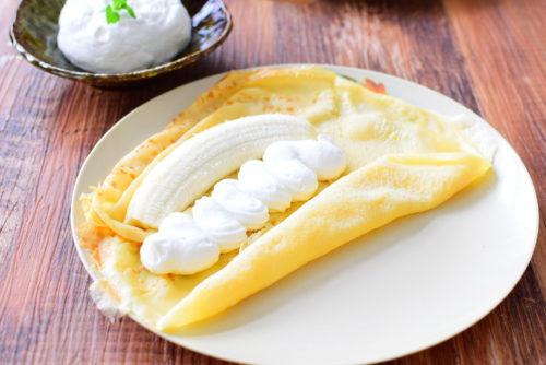 もちもち生地のバナナクレープのレシピの写真