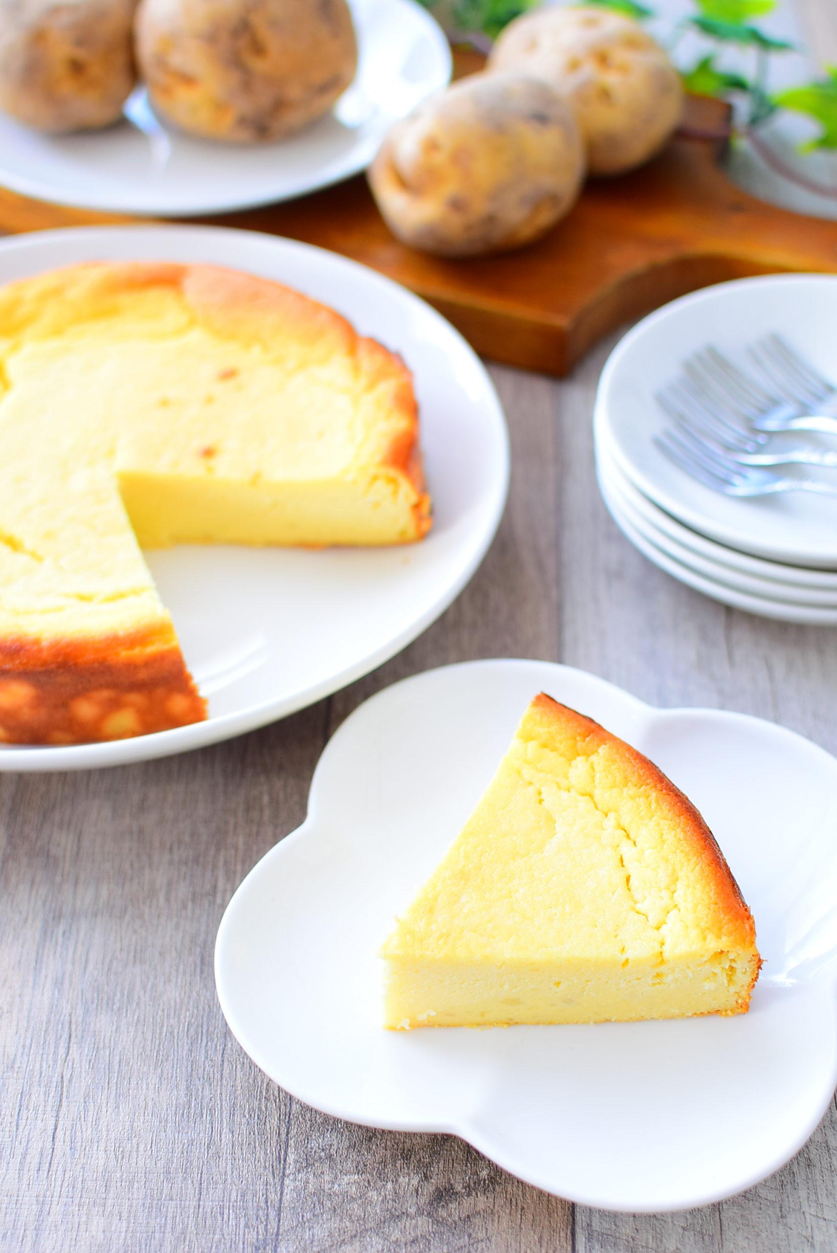 砂糖不使用!メープルシロップ入りじゃがいもチーズケーキのレシピの写真