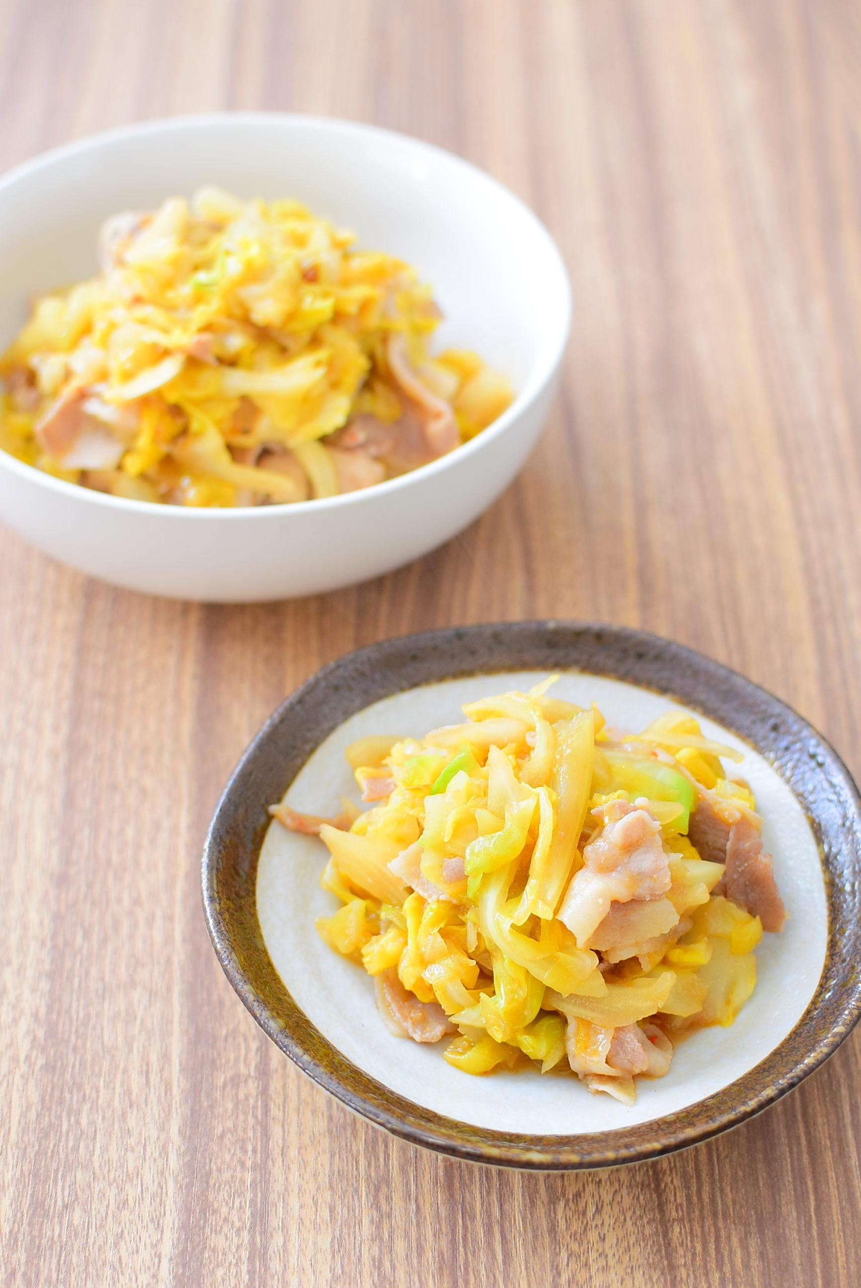 しんなりキャベツと豚バラのピリ辛みそ炒めのレシピの写真