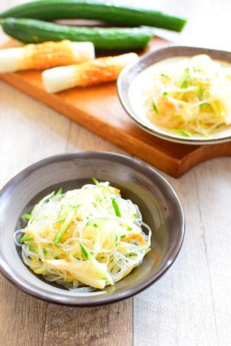 味付け簡単!ハムなしちくわ春雨サラダのレシピの写真