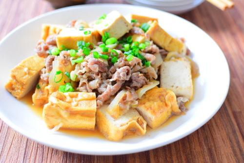 厚揚げと牛肉のしょうゆ炒めのレシピの写真