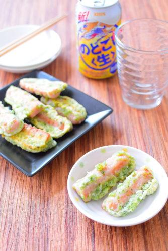 魚肉ソーセージで作る!揚げない!磯辺揚げのレシピの写真