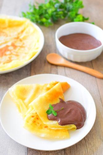 豆腐ココアクリームがけ!もちもちクレープのレシピの写真