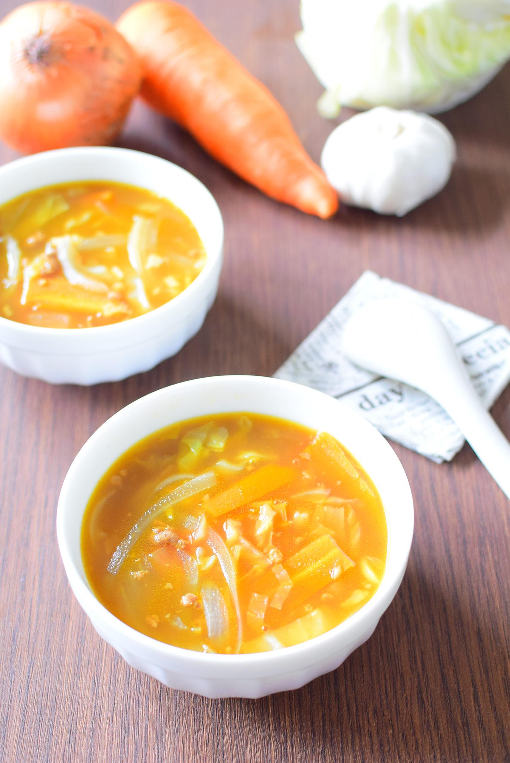 カレールーで作る美味しい野菜スープのレシピの写真
