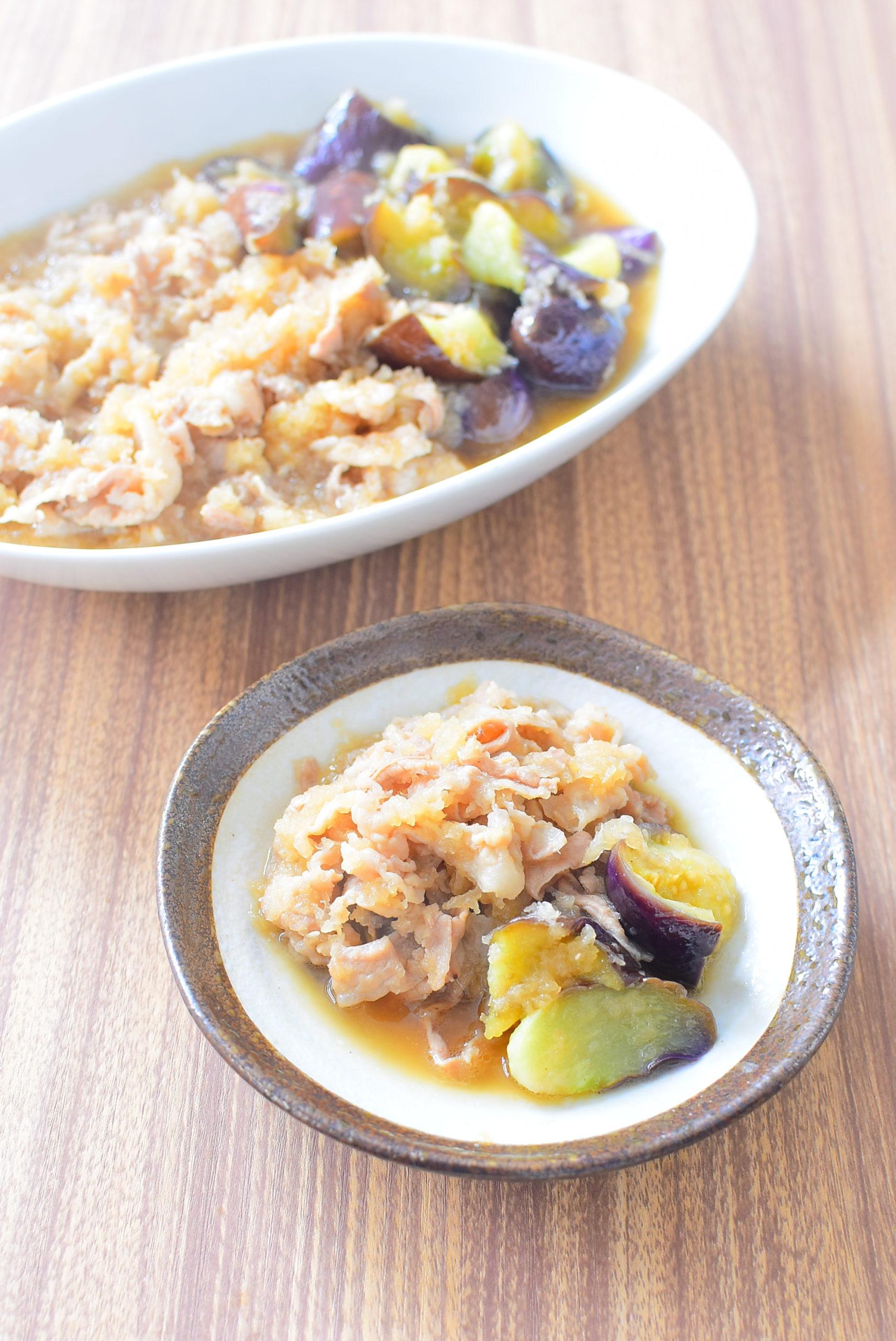 やわらかナスと豚バラのみぞれ煮のレシピの写真