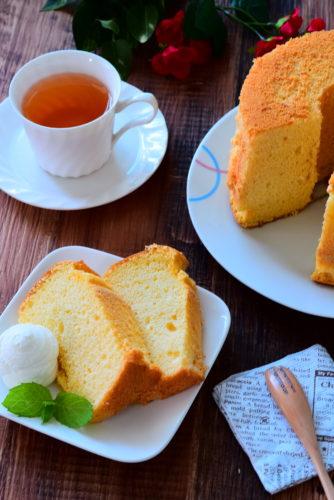 ふわっふわ!はちみつ入りシフォンケーキのレシピの写真