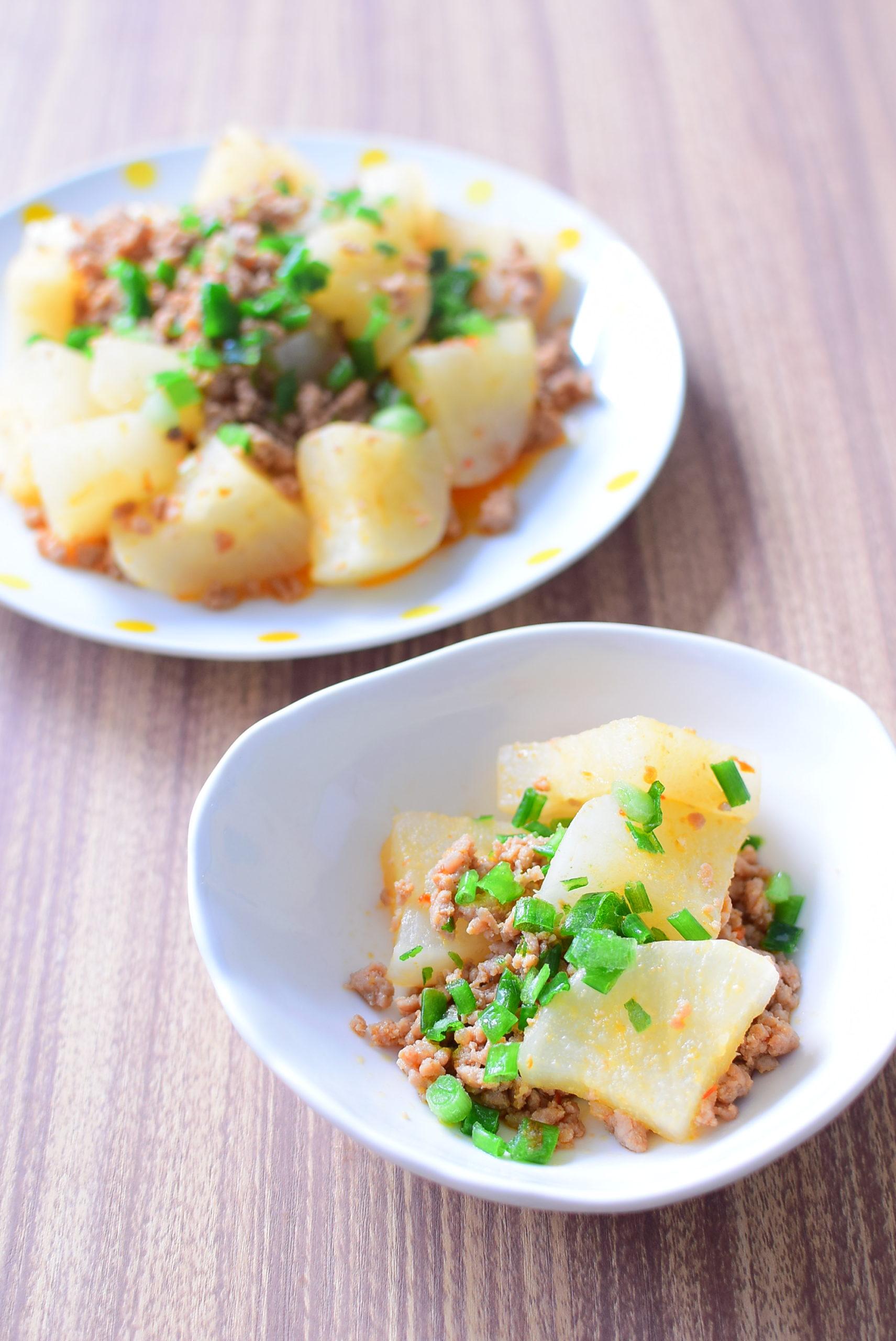にんにくと生姜でご飯が進む!大根のピリ辛ひき肉炒めのレシピの写真