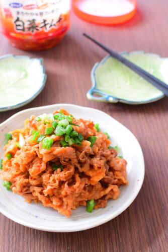 キムチ漬け牛肉しょうゆ炒めのレシピの写真