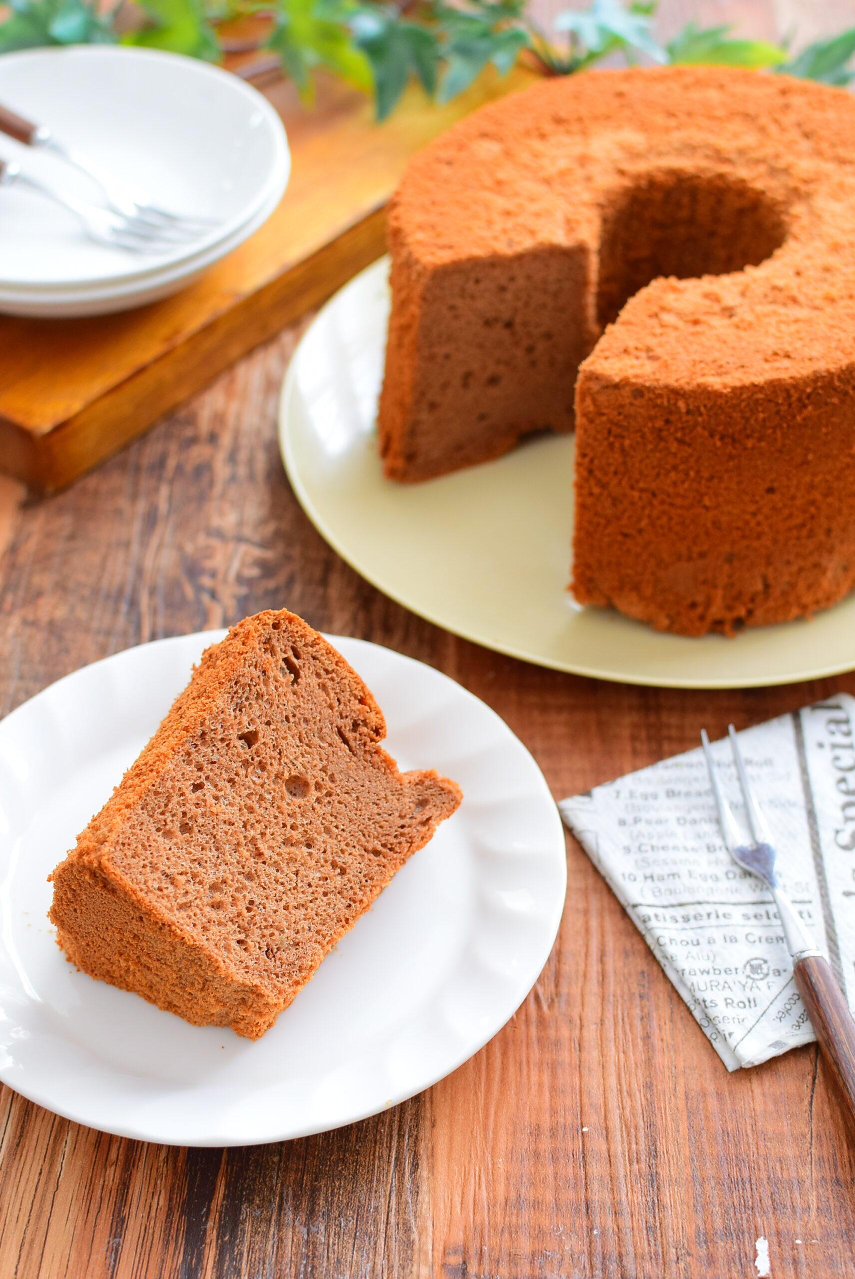 バレンタインに!ふわふわしっとり!チョコレートシフォンケーキのレシピの写真