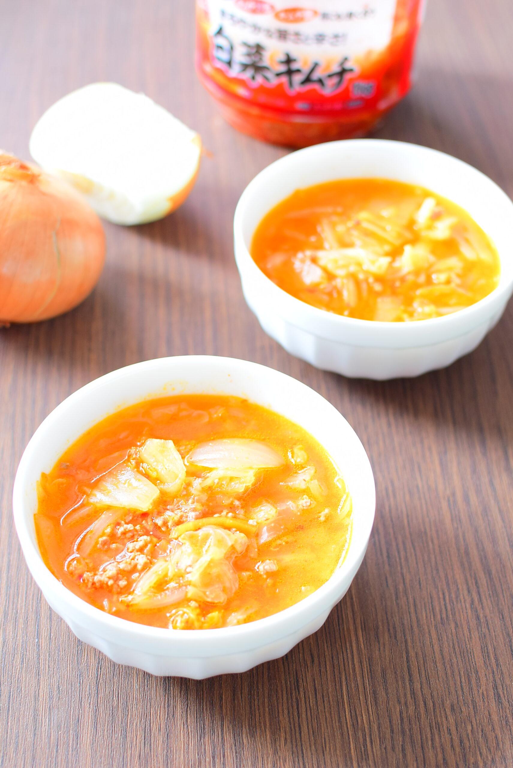 具だくさん!豚ひき肉入りキムチ味噌スープのレシピの写真