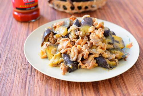 レンチンなすの豚バラ味噌炒めのレシピの写真