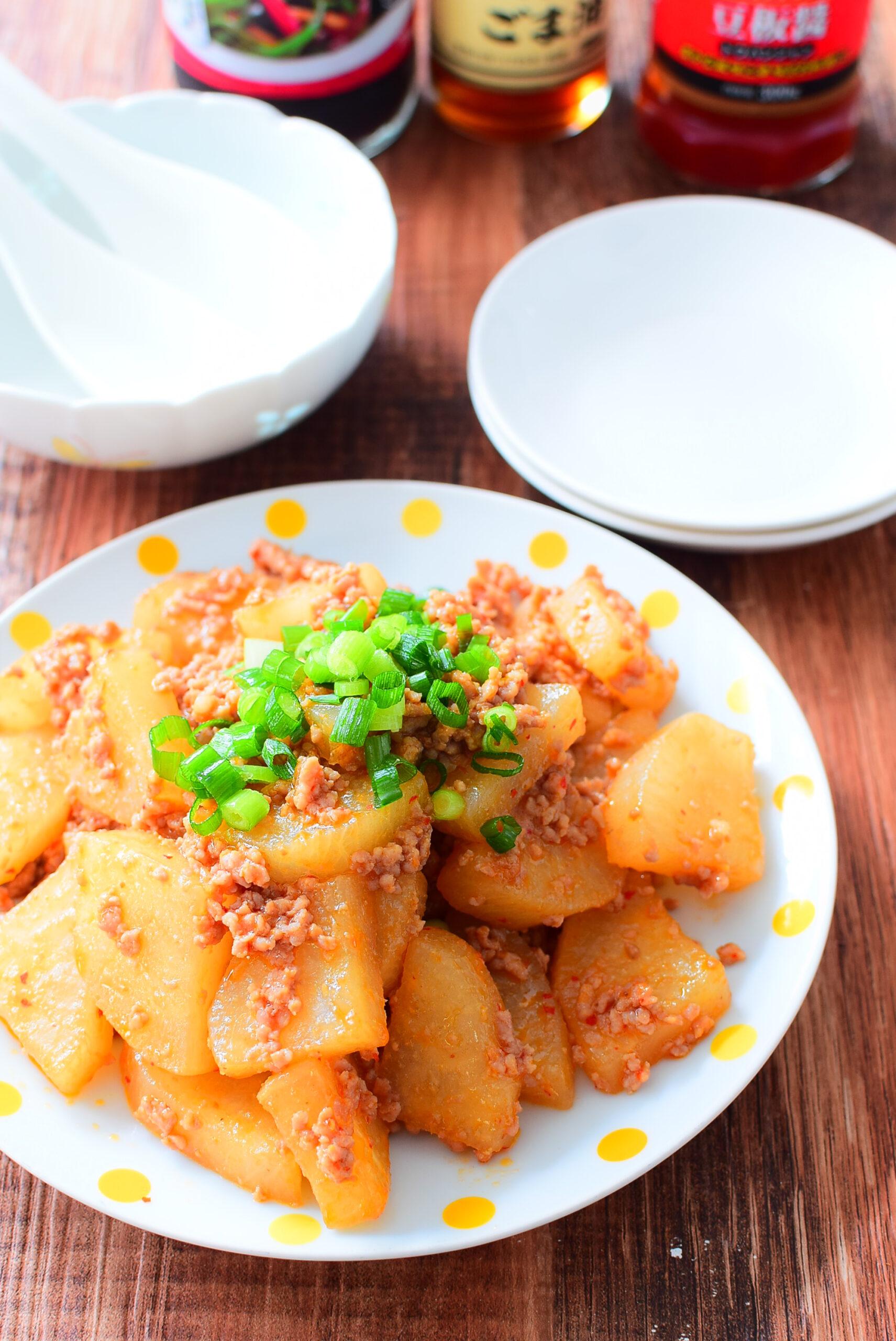 大根とひき肉のオイスターソース炒めのレシピの写真