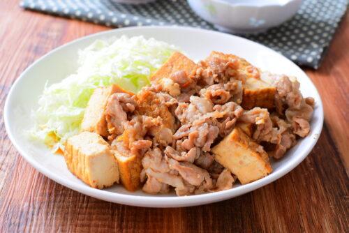 【厚揚げでボリュームアップ】豚の生姜焼きのレシピの写真